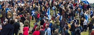 Crowd with Scot flags